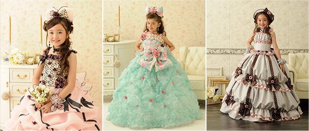 可愛らしいものからシックで大人顔負けのドレスまで、衣装も豊富に取り揃える写真館です