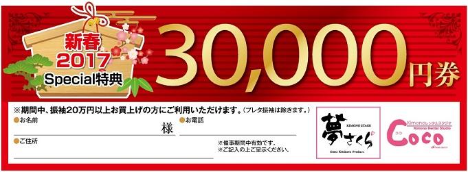 新春コラボ特別企画3万円OFFチケット